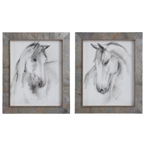 Equestrian - 23 inch Watercolor Framed Print (Set of 2)