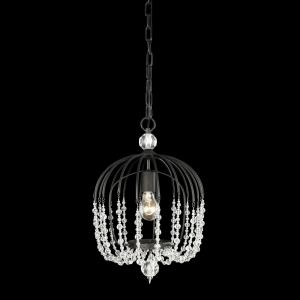 Voliere - 1 Light Metal and Crystal Bead Pendant with Glam and Coastal Inspirations