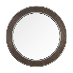 "Macie - 30"" Round Wood and Metal Mirror"