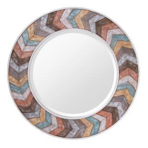 Jemma - Chevron Wood Round Mirror
