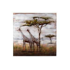 Serengeti Mixed-Media Metal on Wood Wall Art