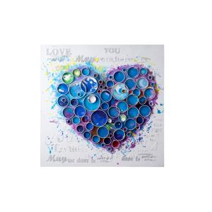 Work Of Heart - Blue Mixed-Media Wall Art