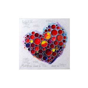 Work Of Heart - Red Mixed-Media Wall Art
