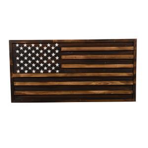 Rustic Pine - American Flag Wall Sconce Art