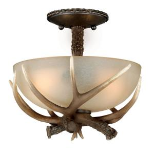 Yoho 2-Light Semi-Flush Mount in Rustic and Antler Style 11 Inch Tall and 12 Inches Wide