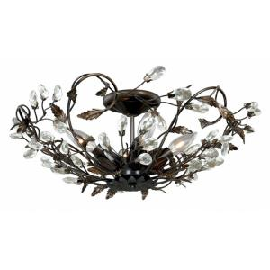 Jardin 4-Light Semi-Flush Mount in Traditional and Bowl Style 8 Inches Tall and 19 Inches Wide
