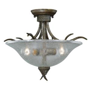Monterey 2-Light Semi-Flush Mount in Rustic and Bowl Style 14 Inches Tall and 16.5 Inches Wide