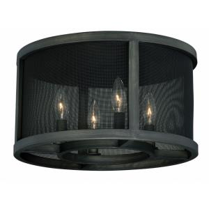 Wicker Park 4-Light Flush Mount in Industrial and Drum Style 8.5 Inches Tall and 15 Inches Wide