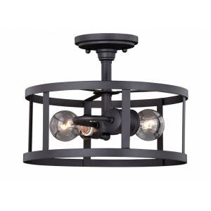 Akron 2-Light Semi-Flush Mount in Farmhouse and Cage Style 9.5 Inches Tall and 12 Inches Wide