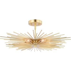 Nikko 6-Light Semi-Flush Mount in Mid-Century Modern and Starburst Style 9.5 Inches Tall and 24 Inches Wide