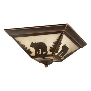 Bozeman 3-Light Flush Mount in Rustic and Square Style 5.75 Inches Tall and 14 Inches Wide