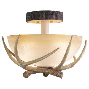 Lodge 3-Light Semi-Flush Mount in Rustic and Antler Style 12.75 Inches Tall and 16 Inches Wide
