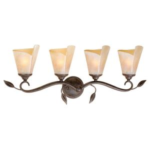 Capri 4-Light Bathroom Light in Rustic Style 11.5 Inches Tall and 29.75 Inches Wide