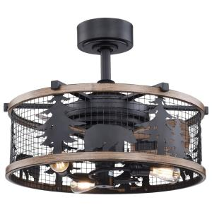 Kodiak 3-Light Ceiling Fan in Rustic Style 18 Inches Tall and 21 Inch Wide