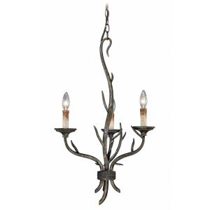 Monterey 3-Light Mini Chandelier in Rustic and Candle Style 28 Inches Tall and 18 Inches Wide
