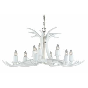Vail 9-Light Chandelier in Rustic and Antler Style 17 Inches Tall and 37.5 Inches Wide