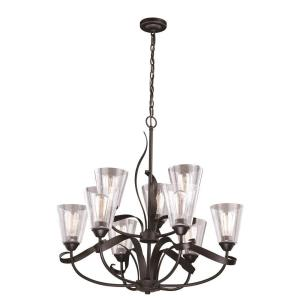 Cinta 9-Light Chandelier in Transitional Style 29.5 Inches Tall and 31.5 Inches Wide