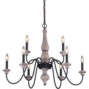 Georgetown 9-Light Chandelier in Farmhouse and Candle Style 24.5 Inches Tall and 31 Inch Wide
