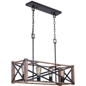 Colton 4-Light Linear Chandelier in Rustic and Rectangular Style 22 Inches Tall and 30.5 Inches Wide
