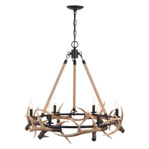 Breckenridge 6-Light Chandelier in Rustic and Wheel Style 27 Inches Tall and 30.5 Inches Wide