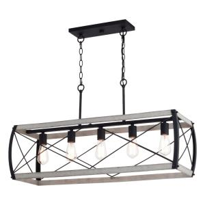 Montclare 5-Light Linear Chandelier in Farmhouse and Rectangular Style 19.5 Inches Tall and 35 Inches Wide