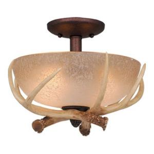 Lodge 2-Light Convertible Light Kit in Rustic and Bowl Style 8.5 Inches Tall and 12.5 Inches Wide