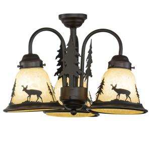 Bryce 3-Light Convertible Light Kit in Rustic and Shaded Style 10.5 Inches Tall and 15.5 Inches Wide