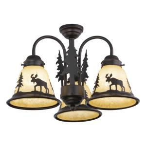 Yellowstone 3-Light Convertible Light Kit in Rustic and Shaded Style 10.5 Inches Tall and 15.5 Inches Wide