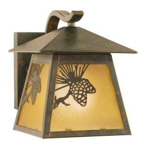 Whitebark 1-Light Outdoor Wall Sconce in Rustic and Lantern Style 8 Inches Tall and 7 Inches Wide