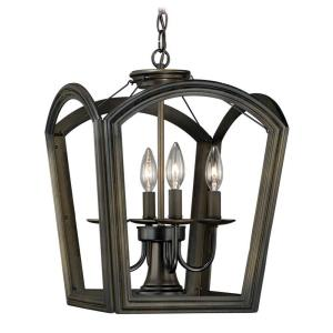 Canterbury 4-Light Pendant in Farmhouse and Cage Style 13.5 Inches Tall and 17.5 Inches Wide