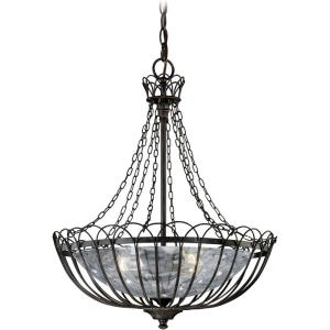 Novara 3-Light Pendant in Traditional and Cage Style 23.5 Inches Tall and 18.5 Inches Wide
