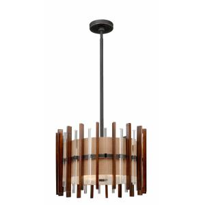 Mosel 4-Light Pendant in Mid-Century Modern and Drum Style 17.5 Inches Tall and 19 Inches Wide