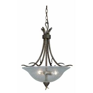 Monterey 3-Light Pendant in Rustic and Bowl Style 25 Inches Tall and 20 Inches Wide