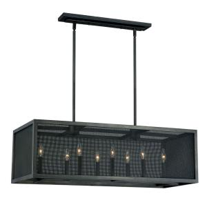 Wicker Park 8-Light Linear Chandelier in Industrial Style 19 Inches Tall and 38 Inches Wide
