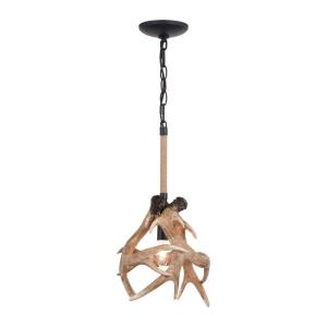 Breckenridge 1-Light Pendant in Rustic and Cone Style 18.5 Inches Tall and 10.75 Inches Wide