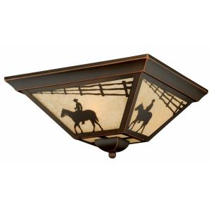 Trail 3-Light Outdoor Ceiling in Rustic and Square Style 7 Inches Tall and 14 Inches Wide