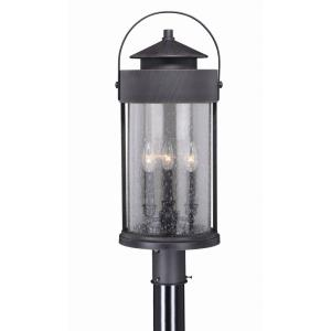 Cumberland 3-Light Outdoor Post in Rustic and Cylinder Style 25 Inches Tall and 10 Inches Wide
