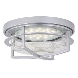 Logan 1-Light Outdoor Ceiling in Contemporary and Drum Style 6 Inches Tall and 13 Inches Wide
