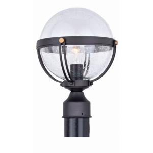 Lorient 1-Light Outdoor Post in Transitional and Globe Style 12.75 Inches Tall and 9.75 Inches Wide