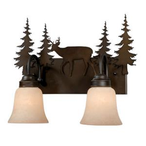Bryce 2-Light Bathroom Light in Rustic Style 13.75 Inches Tall and 16.75 Inches Wide