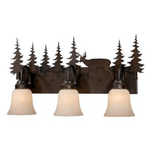 Bryce 3-Light Bathroom Light in Rustic Style 13.75 Inches Tall and 24.75 Inches Wide