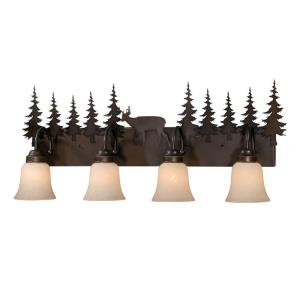 Bryce 4-Light Bathroom Light in Rustic Style 14 Inches Tall and 33 Inches Wide