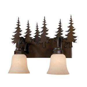 Yosemite 2-Light Bathroom Light in Rustic Style 13.75 Inches Tall and 16.75 Inches Wide