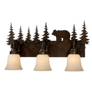 Bozeman 3-Light Bathroom Light in Rustic Style 13.75 Inches Tall and 24.75 Inches Wide