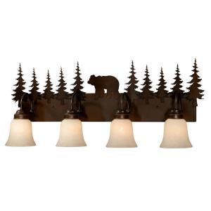 Bozeman 4-Light Bathroom Light in Rustic Style 14 Inches Tall and 33 Inches Wide