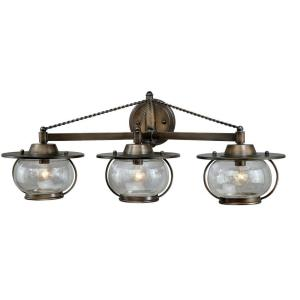 Jamestown 3-Light Bathroom Light in Coastal Style 11 Inch Tall and 27.25 Inches Wide