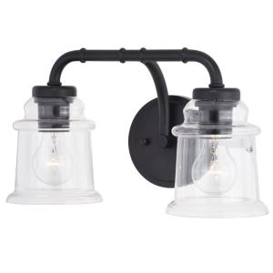 Toledo 2-Light Bathroom Light in Industrial and Jar Style 8.25 Inches Tall and 14.75 Inches Wide