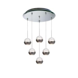 Genesis - Six Light Pendant with Mirrored Canopy