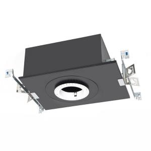 """Volta - 17.69"""" 15W 1 LED Recessed Chicago Plenum Housing for Round Invisible Trim with Emergency Backup Battery"""