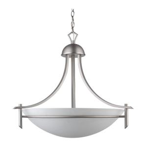 Kelsey Twenty Two-Inch Three-Light Bowl Chandelier, Brushed Pewter with Dove White Glass
